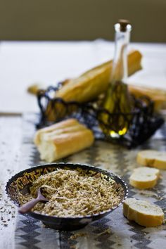 Dukkah – A crumbly Middle Eastern Nut and Spice Mix eaten with Bread & Olive Oil.