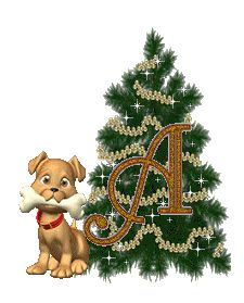 Alfabeto animado de arbolito navideño con perrito. Karácsonyfa kutyussal