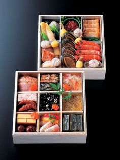 「賛否両論 おせち 二段重」osechi-ryori.....v the exquisite lunch boxes prepared for eating on Jan 1st.Japanese ladies take 1 or 2 full days preparing this and make plenty so all the days of new year holidays (jan1-4)leftovers can be used and they can relax too