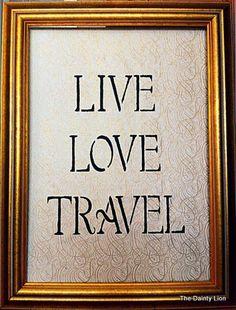 Live. Love. Travel. Travel themed wedding.