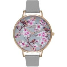 Olivia Burton  Painterly Prints Blossom Birds Floral Watch - Grey &... (3200 NIO) ❤ liked on Polyvore featuring jewelry, watches, rose gold jewelry, gray jewelry, grey watches, flower jewellery and rose gold jewellery