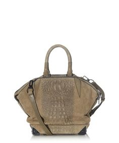 Olive suede & crocodile effect tote bag Sale - ALEXANDER WANG Sale