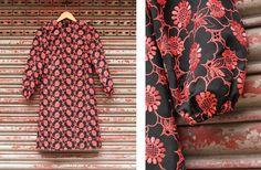 Vintage Black and Coral Embroidered Dress on Etsy, $358.28 HKD