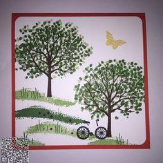 Une carte estivale réalisée avec le Set Arbre protecteur #stampinup #arbre #protecteur #carte #déco #saison #papillon #vélo #bicyclette