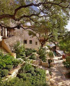 "Courtyard garden tiered planting""  ""terracing exterior gardens"""
