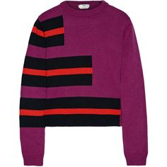 Fendi Striped cashmere sweater (€865) ❤ liked on Polyvore featuring tops, sweaters, fendi, purple, striped cashmere sweater, collared sweater, purple top and purple striped top