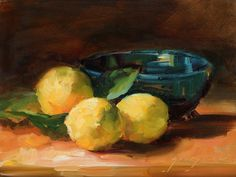 Bright yellow lemons against a blue green bowl make this small painting a stand out in any formal dining room. A surprising splash of color is a welcome addition to any room with formal undertones.
