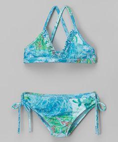 Another great find on #zulily! Aqua Floral Bikini - Toddler #zulilyfinds