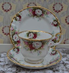 Royal Albert Celebration Tea Trio - tea Cup, Saucer, Tea Plate, Vintage English Pink Roses and Gilt Bone China, Exc. Condition, 1st quality by ImagineHowCharming on Etsy