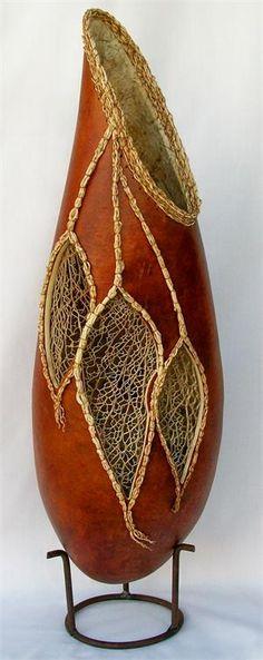Cacti Skeleton Gourd Art Vase by Sue Brogdon