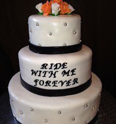 biker wedding cakes 2 tier | tier and highlighting the bottom two tiers for motorcycle fans