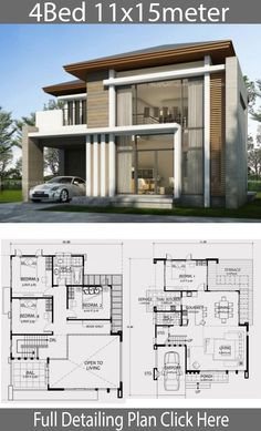 Home design 11x15m with 4 Bedrooms - Home Design with Plansearch