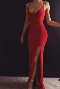 Sheath V Neck Spaghetti Straps Red Elastic Satin Long Prom Dresses Prom Dress V-neck V Neck Prom Dress Long Prom Dress Prom Dress Red Prom Dress Prom Dresses Long V Neck Prom Dresses, Mermaid Prom Dresses, Sexy Dresses, Red Mermaid Dress, Classy Prom Dresses, Red Ball Dresses, Prom Dresses With Slits, Prom Dreses, Sexy Maxi Dress