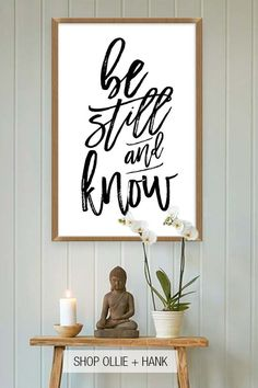 Meditation Room DIY Wall Art Be Still And Know Wall Art Inspirational Quotes Meditation Quote Art Be Still And Know Printable Bible Verse Art Christian Meditation Room Decor ollieandhank bestillandknow meditationquote # Home Yoga Room, Yoga Room Decor, Yoga Studio Home, Meditation Room Decor, Meditation Corner, Relaxation Room, Meditation Space, Yoga Meditation, Yoga Studio Decor