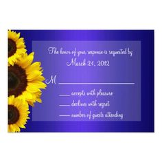 Yellow Wedding Invitations Blue and Yellow Sunflower Wedding RSVP Card