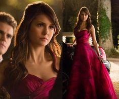 Elena's pink prom dress on The Vampire Diaries. Outfit Details: https://wornontv.net/14234/ #TheVampireDiaries