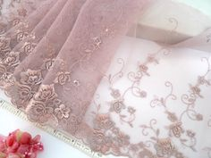 """""""Lace trim embroidered tulle trim embroidered net by raincrazy133, $7.99"""""""