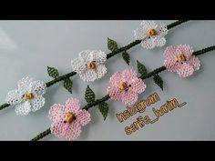 İğne oyası bileklik yapımı  - #hatflower - İğne oyası bileklik yapımı ... Baby Hat Patterns, Bobble Stitch, Flower Hats, Needle Lace, Learn To Crochet, Crochet Gifts, Crochet Flowers, Bracelet Making, Crochet Projects