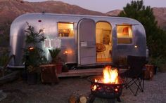 A 1965 Airstream Safari recast by Area 63 Productions and interior designer Caroline Brandes for rent on her property in Big Sur, California.