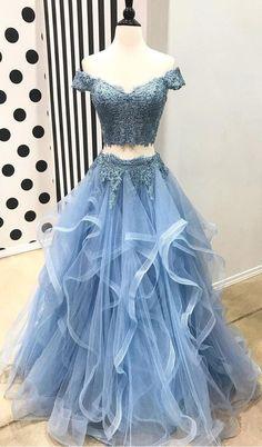 Blue Evening Dresses, Lace Evening Dresses, Long Prom Dress, Two Pieces Evening Dresses, Prom Dresses Prom Dresses 2019 Blue Lace Prom Dress, Cute Prom Dresses, Dance Dresses, Pretty Dresses, Homecoming Dresses, Formal Dresses, Dress Lace, Dress Prom, Elegant Dresses