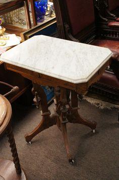 Antique Eastlake Beveled Marble Top Table Porcelain Castor Burl | 495