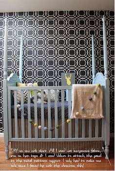 Forget the crib... I HAVE to have a stenciled wall like this!