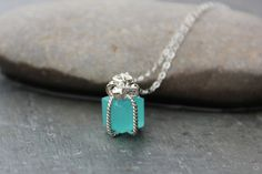 Tiny present necklace- Aqua blue gift box pendant on sterling silver chain - Tiffany Blue - Pacific Opal blue - free shipping USA on Etsy, $25.00