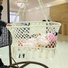 Recién nacido bebé del verano suspensión Sype cuerda de algodón Manual de medio ambiente cuna Basket Weave diseño
