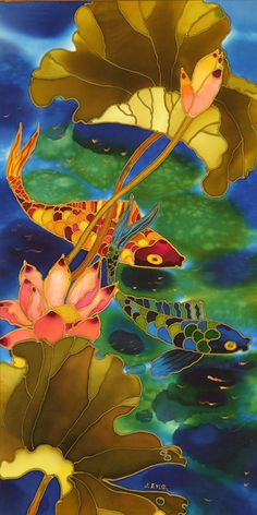 Pink Lotus and Koi ~ Yelena Sidorova