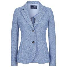 Armani Jeans Stripe Blazer ($425) ❤ liked on Polyvore featuring outerwear, jackets, blazers, blazer, armani jeans, blue jackets, blazer jacket, stripe blazer and striped blazer
