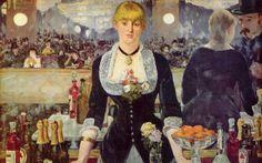 """Manet, Edouard: """"Bar no Folies Bergere"""" de 1882 Londres, Instituto Courtald Galerias Quadros de Manet de cenas do café são observações da vida social em Paris do século XIX, e esta tela impressionante e complexo é uma das suas obras-primas mais famosas."""