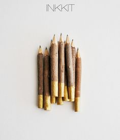 "gold dip twig pencils - hand painted - 4"" (10 pencils). $13.00, via Etsy."