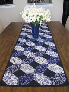 Shades of Blue Extra Long Quilted Table Runner
