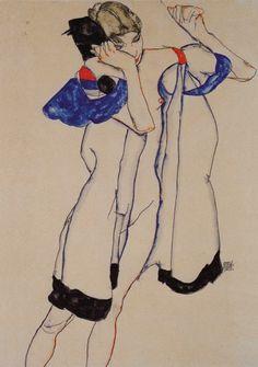 * Frau im morgenrock 1913 - Egon Schiele.