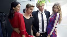 Kendall Jenner, Justin Bieber, Cody Simpson, and Gigi Hadid on the Vogue shoot set.