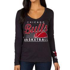 Women's Chicago Bulls Black Fall V-Neck Long Sleeve T-Shirt