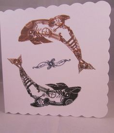 Steampunk Dolphins Blank Card Steampunk Card Dolphin by FinchCards