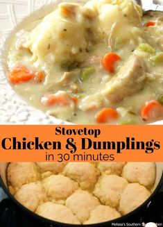 Stovetop Chicken And Dumplings In 30 Minutes combines rotisserie chicken, vegetables and fluffy dumplings tuining it into a comforting busy day feast. Chicken And Dumplins, Chicken Dumpling Soup, Dumplings For Soup, Chicken And Bisquick Dumplings, Chicken And Dumplings Southern, Turkey And Dumplings, Crockpot Chicken And Dumplings, Cooked Chicken, Stuffed Chicken