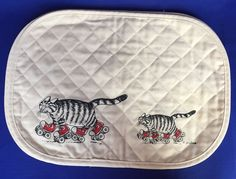 VTG Lot 4 B Kliban Cat Walking Placemats Red Sneaker Tennis Shoes Quilted Cloth #bkliban
