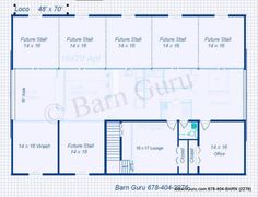 6 Stall Horse Barn Plans . Like, except the lounge part. Too many other uses, owners/farriers/vet's.... can come in the office I don't want folks hanging out... unless they want to clean stalls or top off water buckets.