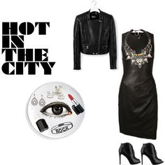 A fashion look from January 2015 featuring leather dresses, leather jackets and heeled ankle boots. Browse and shop related looks. Fashion Outfits, Shoe Bag, City, Polyvore, Stuff To Buy, Shopping, Collection, Design, Women