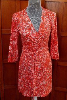 Diane von Furstenberg DVF New Julian Two Red White Silk Wrap Dress 6 S M #DVF #WrapDress