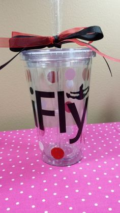 Cheerleader Insulated Tumbler with iFly and cheerleader | grammeshouse - Housewares on ArtFire