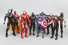 10pcs Civil War Iron Man Spider-Man Captain America Hawke Winter Soldier Action figure Doll Toy #Affiliate