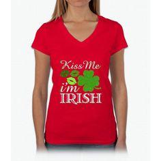 Kiss Me I'm Irish St. Patrick's Day Irish T-shirt Womens V-Neck T-Shirt