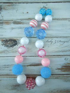 Light Pink Blue and White Chunky Necklace  For by babyzdesigns, $18.00
