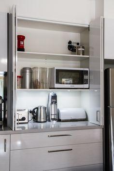 Appliance pantry. White modern kitchen. www.thekitchendesigncentre.com.au