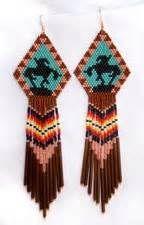 Native American Trail of Tears Beaded Earrings - Muskogee Native American Art Beaded Earrings Native, Beaded Earrings Patterns, Beaded Necklace, Native Beading Patterns, Seed Bead Patterns, Indian Beadwork, Native Beadwork, Native American Earrings, Native American Beadwork