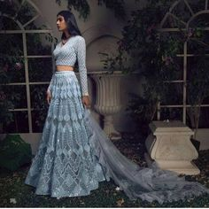 Dress Indian Style, Indian Dresses, Pakistani Dresses, Pakistani Suits, Indian Lehenga, Blue Lehenga, Floral Lehenga, Desi Clothes, Indian Clothes