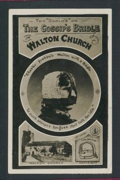 """""""To curb women's tongues that talk too idle"""" The Scold's or Gossip's Bridle Walton-on-Thames Church Surrey RP Postcard Listing in the Surrey."""